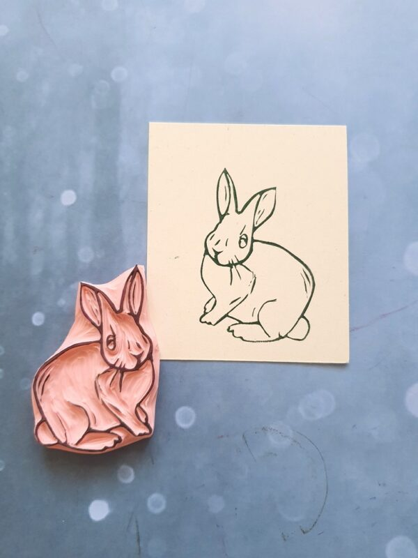 hare stamp, hare rubber stamp, easter rubber stamp