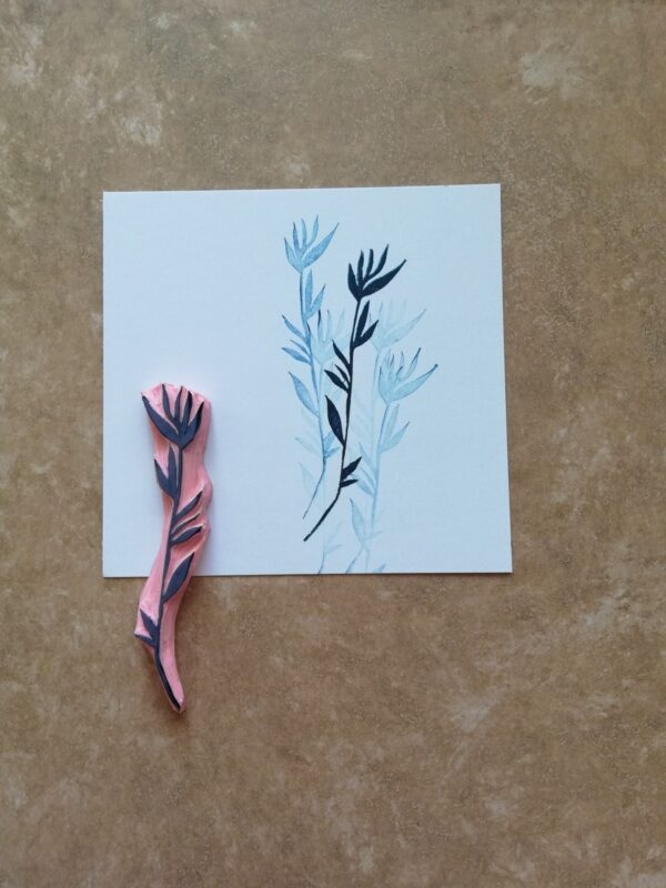 Twig rubber stamp for mixed media journal, wild flower stamp, floral diary, botanical bullet journal, rustic wedding ephemera, bohemian deco
