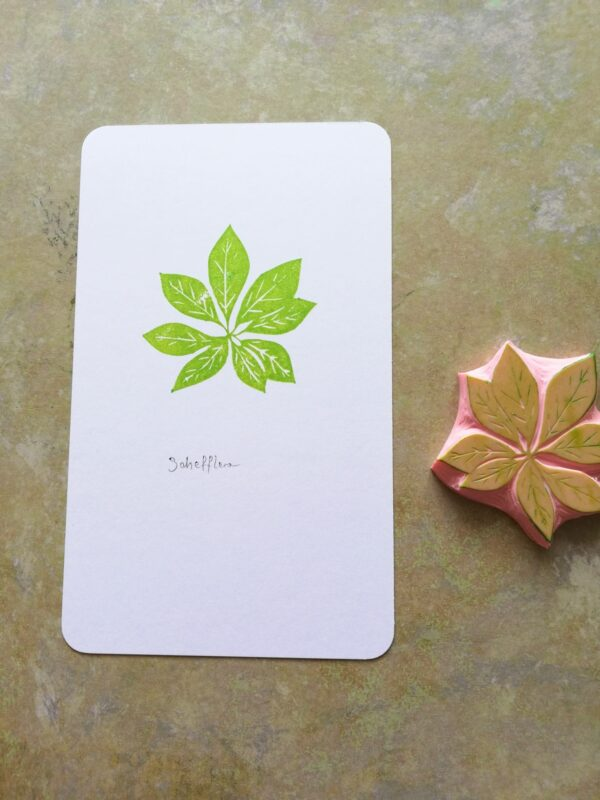 Schefflera rubber stamp for journaling