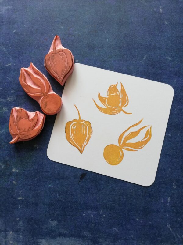 Physalis flower rubber stamp, set of 3, lantern flower stamp, autumn stationery, home schooling play, montessori kids, growing up creative,