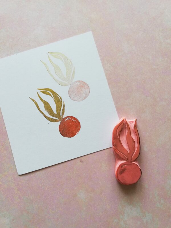 Physalis flower rubber stamp for journaling, chinese lantern flower stamp, fruit herbarium, vintage kitchen, recipe journal decor,