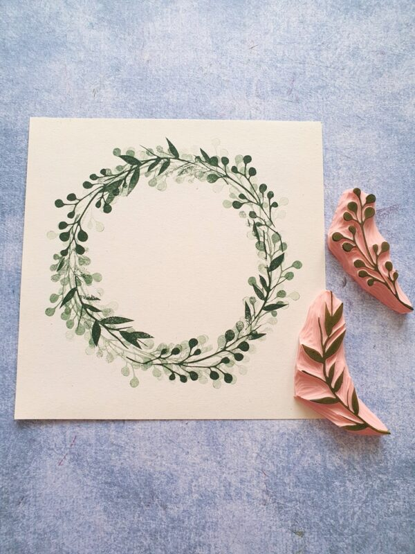 wreath stamping, cardmaking wreath ephemera, wianek do kartek, stempel wianek, pieczątka wianek