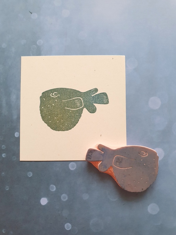 ryba stempel, ryba pieczątka, rozdymka stempel, fish rubber stamp, pupperfish stamp