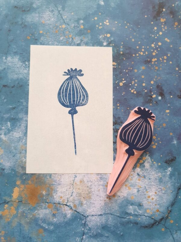 poppy pod rubber stamp