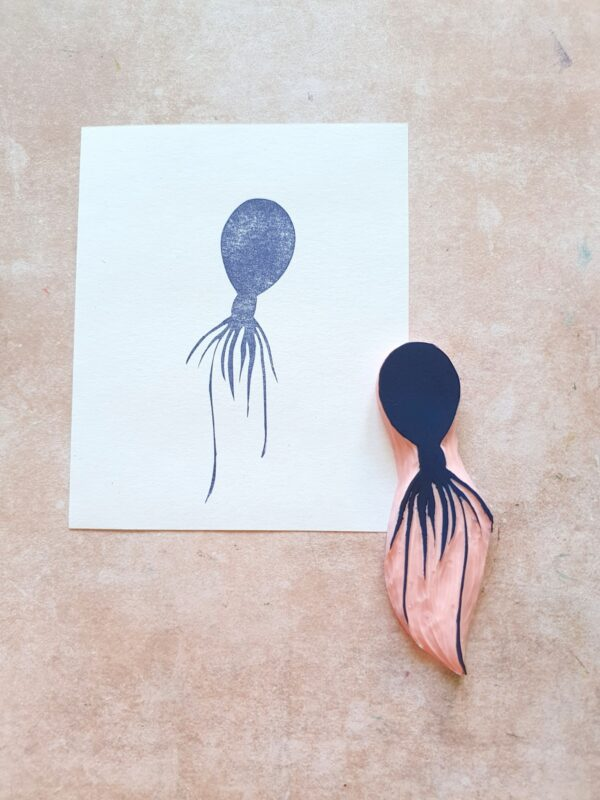 Jellyfish rubber stamp for bullet journal, octopus stamp for scrapbooking, ocean life stationery, summer vibes, tropical vacation,
