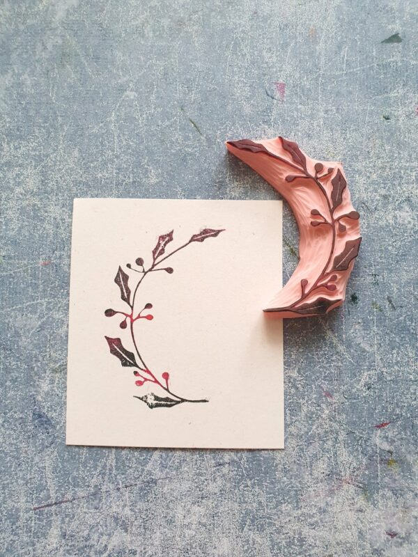 Poinsettia twig rubber stamp, winter berry stamp, wreath stamping, Christmas garland, xmas crafting, holly night stationery