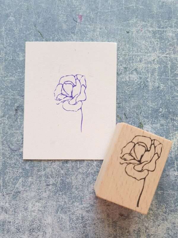 Wild flower wood stamp for junk journal, botanical stamp for bullet journal, thank you gift, collage texture tiles, personalized notebook