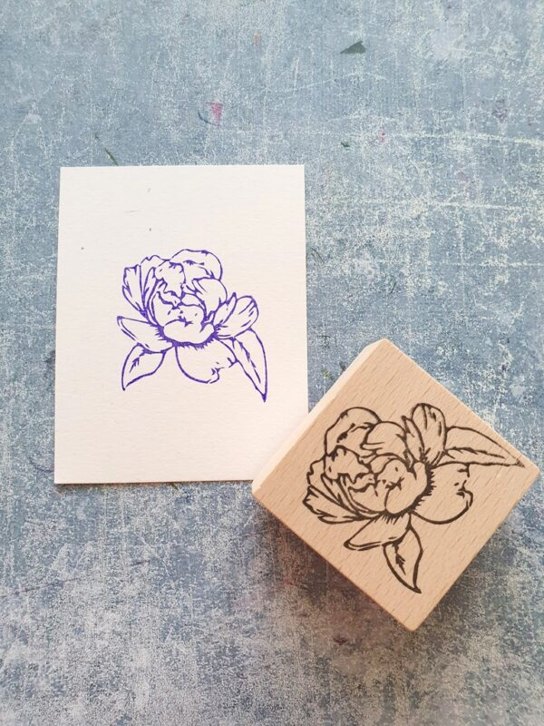 WIld flower wooden stamp for cardmaking, blossom floral stamp for scrapbooking, craft stamping supplies, texture tiles, copic coloring